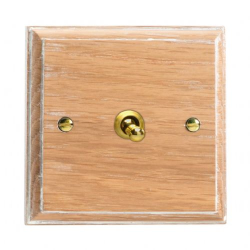 Varilight XKT1LO Kilnwood Limed Oak 1 Gang 10A 1 or 2 Way Toggle Light Switch
